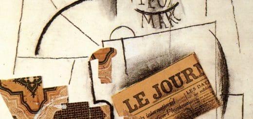 5 Picasso, 1913, Bouteille de Vieux Marc, verre et journal